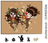 Characters Christmas : Reindeer Dance Comic Style - stock vector