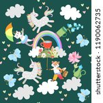 cute fairy pattern with funny... | Shutterstock .eps vector #1190062735