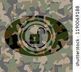 open lock icon on camo texture   Shutterstock .eps vector #1190069188