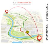 city map navigation route ... | Shutterstock . vector #1190072212