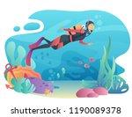 professional scuba diver man... | Shutterstock .eps vector #1190089378