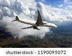 white passenger plane is... | Shutterstock . vector #1190095072