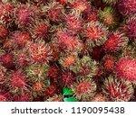 rambutans background. healthy... | Shutterstock . vector #1190095438