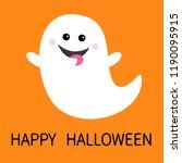 happy halloween. flying ghost... | Shutterstock .eps vector #1190095915