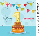 cake with a candle  number one  ... | Shutterstock .eps vector #1190107738