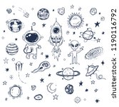 doodle space travel vector set... | Shutterstock .eps vector #1190116792