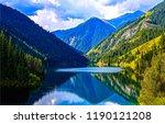 mountain lake reflection... | Shutterstock . vector #1190121208