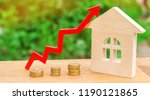 wooden house with a coins and... | Shutterstock . vector #1190121865