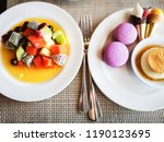 the fruit salad with macaroons  ... | Shutterstock . vector #1190123695