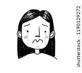 cartoon illustration of crying... | Shutterstock . vector #1190129272