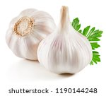 garlic with leaf isolated on... | Shutterstock . vector #1190144248