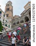 amalfi  italy   august 2  2018  ... | Shutterstock . vector #1190157805