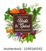 spices and herbs of ginger and... | Shutterstock .eps vector #1190160142