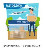 post mail fast delivery poster... | Shutterstock .eps vector #1190160175
