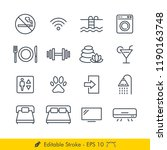 hotel related signs icons  ... | Shutterstock .eps vector #1190163748