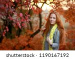 beautiful red haired girl in... | Shutterstock . vector #1190167192