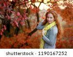beautiful red haired girl in... | Shutterstock . vector #1190167252