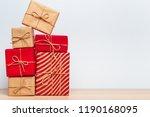 christmas gift box on tablet   Shutterstock . vector #1190168095