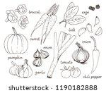 vegetable vector set  hand... | Shutterstock .eps vector #1190182888
