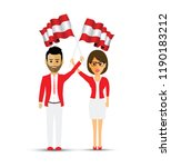 austria flag waving man and... | Shutterstock .eps vector #1190183212