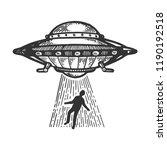 ufo flying saucer kidnaps human ... | Shutterstock .eps vector #1190192518