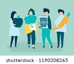 characters of people holding... | Shutterstock .eps vector #1190208265