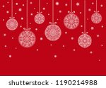 christmas balls hanging on red... | Shutterstock .eps vector #1190214988