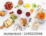 healthy breakfast with oatmeal...   Shutterstock . vector #1190215348