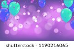 fuchsia metallic baloons on the ... | Shutterstock .eps vector #1190216065