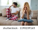 stressed couple arguing and... | Shutterstock . vector #1190239165
