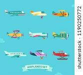 airplane flat style icon set.... | Shutterstock .eps vector #1190250772
