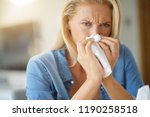 middle aged woman with allergy... | Shutterstock . vector #1190258518