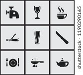 set of 9 editable food icons.... | Shutterstock .eps vector #1190290165