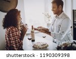 young afro american couple date.... | Shutterstock . vector #1190309398