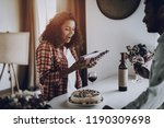 young afro american couple date.... | Shutterstock . vector #1190309698