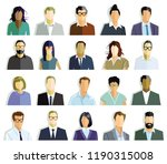 persons portrait  faces... | Shutterstock .eps vector #1190315008