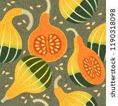 ripe pumpkins seamless pattern. ... | Shutterstock .eps vector #1190318098