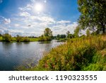 landscape in summer with river  ... | Shutterstock . vector #1190323555