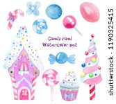 watercolor set with candy ... | Shutterstock . vector #1190325415