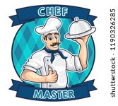 chef master with mustache and... | Shutterstock .eps vector #1190326285