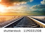 railway track photo under... | Shutterstock . vector #1190331508