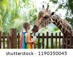 family feeding giraffe in zoo....   Shutterstock . vector #1190350045