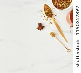 flat lay of fresh black tea ... | Shutterstock . vector #1190352892
