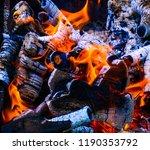 burning firewood closeup. fire... | Shutterstock . vector #1190353792
