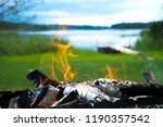 burning firewood in barbecue... | Shutterstock . vector #1190357542
