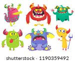 cartoon monsters set. ghost ... | Shutterstock . vector #1190359492