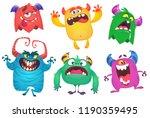 cartoon monsters set. ghost ... | Shutterstock . vector #1190359495