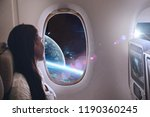 a woman travels in the universe ...   Shutterstock . vector #1190360245