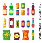 snacks drinks set. chips ... | Shutterstock .eps vector #1190364412