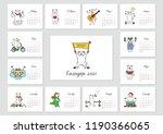 monthly calendar 2020 template... | Shutterstock .eps vector #1190366065